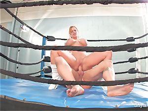 busty platinum-blonde Shyla Stylez does some xxx training