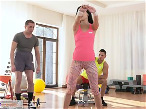 fitness rooms spit roast 3some banging and facial