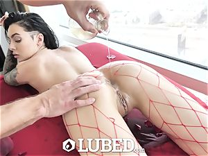 lubed Marley Brinx greased up massage bang and creampie