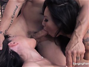 Asa and Dana squad up for a warm threeway with Derek