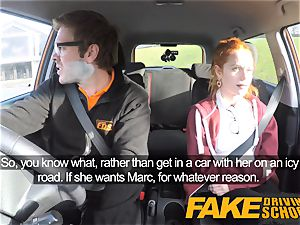 faux Driving school adorable red-haired Ella Hughes pummels