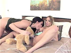 Britney & Alison get off with a vibrating hunk hunk