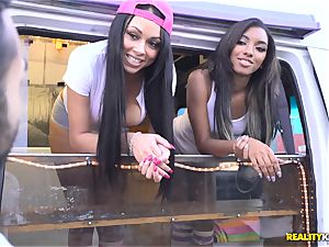 Raven Wylde and Bethany Benz facial cumshot in ice cream truck get labia pulverized