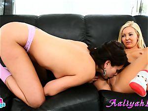 Aaliyah enjoy and Shyla Jennings finger-tickling on sofa