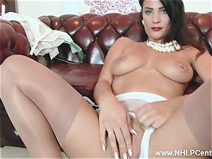 dark-haired fat milk cans frigs honeypot in nylons heels panties