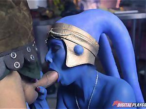 Alien Eva Lovia takes on two hero dicks
