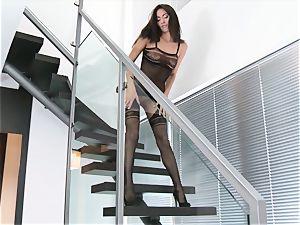 Stairway onanism from brunette babe Michaela Isizzu