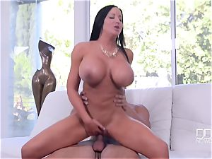 adorable big-titted mummy with perfect bodacious assets takes stranger's large hard-on in her taut labia