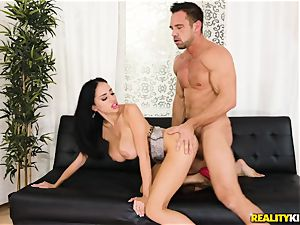 Victoria June picked up by draped Johnny and pulverized in her fleshy gash