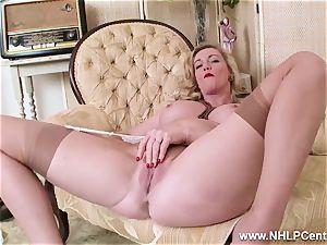 blondie milf peels off off retro lingerie drills mouth-watering muff