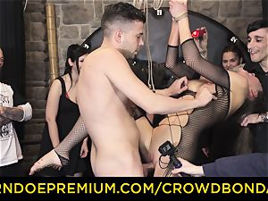 CROWD bondage - extreme bdsm nail wheel with Tina Kay