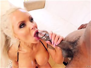 mischievous beautiful mummy Nina Elle with giant funbags gives gargle job and titfucked