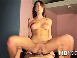 HD pov molten dark haired with ample boobs likes to juggle dick