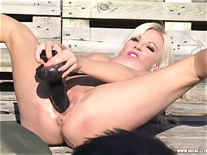 blonde mega-bitch jerks with hefty fucktoy pissing and face sitting