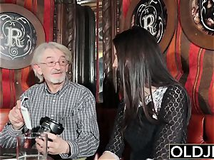 stellar nubile luvs to get penetrated by granddad old dude finishes off