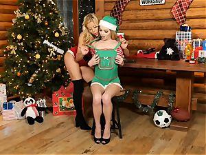 Mrs Claus Alexis Fawx gobbles out elf Angel Smalls