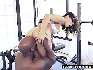 insane nubile got her cooch destroyed by a big black cock after a gym exercise