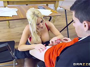 young boy in college uniforms bangs his buxomy teacher Michelle Thorne