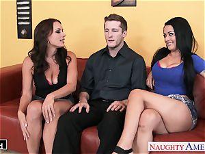 wonderful Katrina Jade and Kayla West sharing a chisel
