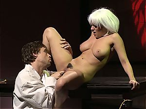 Charley chase is a platinum haired screw female