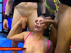 going knuckle deep and unloading in a peeing gangbang For cougar