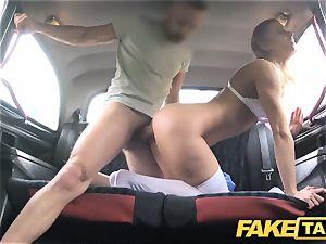 fake taxi Nurse in fabulous underwear has car bang-out