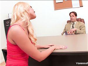 beautiful blond Vanessa cage seduces the dean