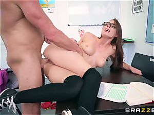 Impudent educator humps his unruly pupil Aidra Fox during the test