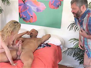 Angel Smalls Has Her spouse slurp cum Off Her