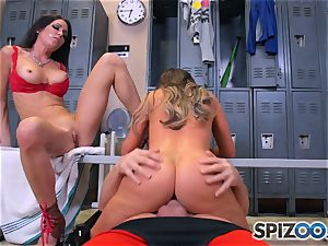 Nikki Benz and Jessica Jaymes ravage rod in the locker room