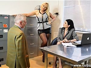 marvelous bosses turn office freak into sole adore slave