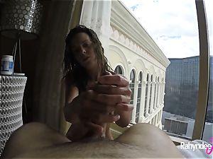Rahyndee pleasuring manhood in Las Vegas hotel pov