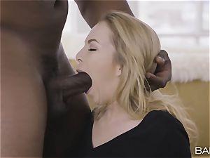 Angel Smalls tongues up that ample big black cock