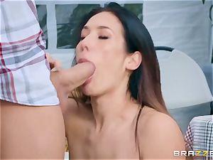 obscene farmer's wife Eva Lovia gets her edible snatch humped at a public fair
