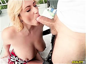 Making her squirm while shagged on the balcony
