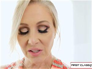FirstClass pov - enjoy Julia Ann gargling a ample fat manstick