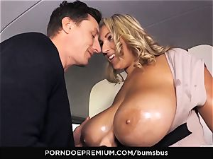 butts BUS stunner with ample melons drilled deep in van